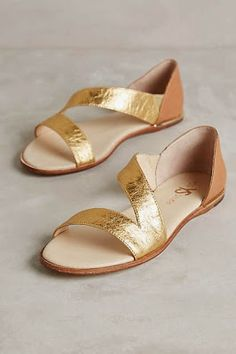 #anthrofave summer flats with gold and neutral