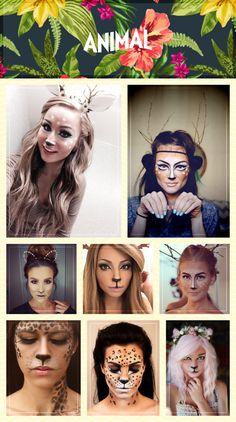 O ano mal começou e eu só consigo pensar em uma coisa: o carnaval já chegou! Eu sou apaixonada com o carnaval, daquelas que planeja as fantasias semanas antes e fica empolgada a cada potinho de glitter comprado. Mas mesmo sendo super empolgada com a festa, não me animo muito de pensar em fantasias super elaboradas, mas fico elaborando durante... Leopard Makeup, Animal Makeup, Faun Costume, Costume Makeup, Cute Halloween Costumes, Halloween Face Makeup, Make Carnaval, Fantasias Halloween, Theatre Makeup