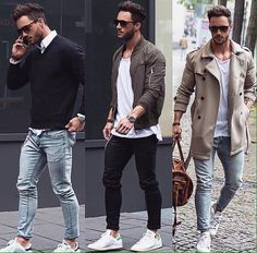 Preppy casual jeans and trench coat Men& Fashion ? Preppy Casual, Casual Jeans, Men Casual, Smart Casual, Casual Summer, Casual Male Outfits, Casual Ootd, Casual Menswear, Men's Outfits