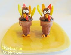 Kitchen Fun With My 3 Sons: Turkey Cupcake Cones