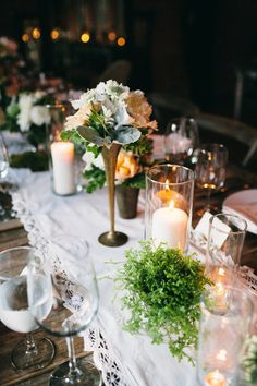 #tablescapes, #table-runners, #candle  Photography: JAC Photography - jacshootblog.com  Read More: http://www.stylemepretty.com/2013/08/12/los-angeles-wedding-from-jac-photography/