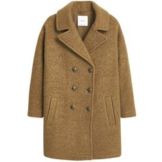 Mango Buttoned Cocoon Coat, Beige/Khaki (3 570 UAH) ❤ liked on Polyvore featuring outerwear, coats, beige coat, double breasted coat, brown coat, button coat and long sleeve coat