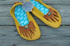 SALE : Sunshine Gold Moccasins. Ready to by RustedAntlerDesigns
