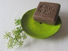 "Ceramics by Saskia Lauth - ""Chocolate-lime"" series, 2015, soap dish, brown clay, yellow green glaze - www.saskia-lauth.com"