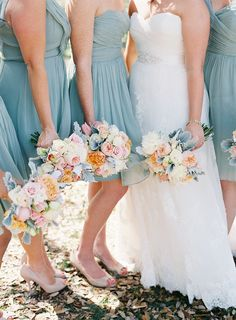 #bridesmaids in a gorgeous dusty blue | Photography: Virgil Bunao - virgilbunao.com Read More: http://www.stylemepretty.com/2014/05/08/rustic-southern-winter-wedding/