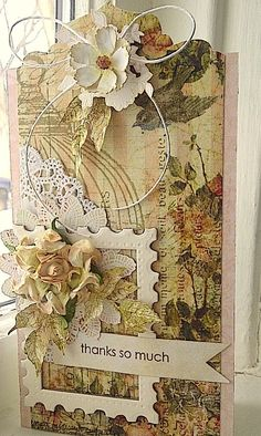Such a gorgeous handmade card.an awesome playground for butterflies to play! This card offers lots of luscious layers and much attention to details! Shabby Chic Cards, Handmade Tags, Card Tags, Gift Tags, Paper Tags, Vintage Tags, Artist Trading Cards, Pretty Cards, Flower Cards
