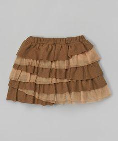 This Mocha Tiered Skirt - Toddler & Girls is perfect! #zulilyfinds