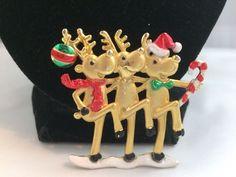 VTG. AJC RED & GREEN ENAMEL MATTE GOLD TONE DANCING REINDEER CHRISTMAS BROOCH~  | eBay