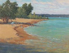 Beach Day in Elk Rapids by Kathleen Kalinowski Oil ~ 11 x 14