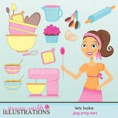 Lets Bake Cute Digital Clipart for Card Design, Scrapbooking, and Web Design