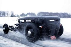 rat rods, winter, sport cars, wheels, ratrod, snow, hot rods, rats, black
