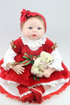 96.62$  Watch now - http://ali1dc.worldwells.pw/go.php?t=32454537037 - 55cm silicone reborn dolls for sale lifelike real baby red dress rooted hair  Creative Christmas gift for children