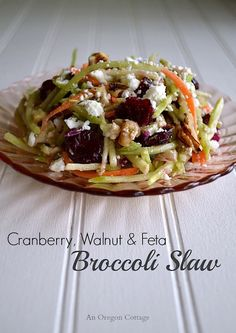 Cranberry Walnut and Feta Broccoli Slaw - An Oregon Cottage