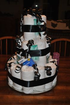 adult diaper cake made with depends adult diapers, muscvle rub, efferdent and hemroid creme.  my own idea.