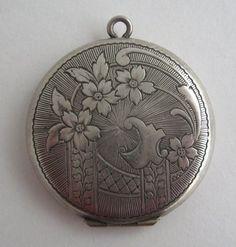 Sterling Photo Locket Antique Victorian Fine 925 Etched Pendant Hallmarked JF
