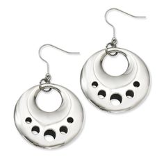 Stainless Steel Polished Circle Cut Out Dangle Earrings SRE452