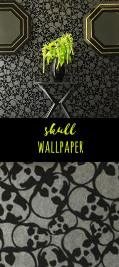 This is really awesome wallpaper. I want this in my bedroom! #gothicdecor #gothicwallpaper #skulldecor #skullwallpaper #afflink