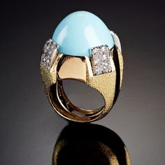 DAVID WEBB Jewels | Ring in gold, platinum, turquoise and bright DOME Women's Jewelry - http://amzn.to/2j8unq8