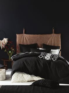Linen House at Simons Maison. Cotton with a unique grain in a chic all-black design, enhanced by a geometric quilted texture for a striking graphic effect. Euro pillow sham sold separately. The set includes: Twin: 1 duvet cover 66&quote; x 90&quote;, 1 pillow sham 20&quote; x 26&quote; Double: 1 duvet cover 84&quote; x 90&quote;, 2 pillow shams 20&quote; x 26&quote; Queen: 1 duvet cover 90&quote; x 95&quote;, 2 pillow shams 20&quote; x 29&quote;...