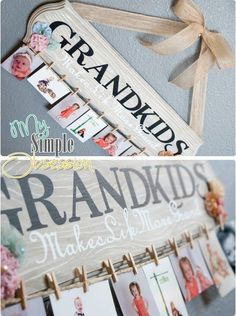 "So cute for our parents.... Could use a picture frame with wooden ""grandkids"" inside and hot glue clothes pin to border for kids pics... Easier than making wood"