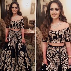 Off the shoulder black lehnga perfect for an indian wedding reception dress Indian Bridal Wear, Indian Wedding Outfits, Pakistani Outfits, Indian Wear, Indian Outfits, Indian Reception Outfit, Pakistani Bridal, Lehenga Designs, Indian Gowns