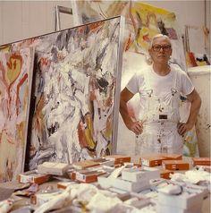 Willem de Kooning in his studio, East Hampton, Long Island, July 21st, 1981