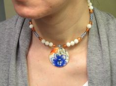 Blue and Orange Choker Necklace with by thousandflowerstudio, $24.00