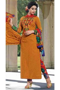 Yellow Cotton Embroidered Salwar Kameez