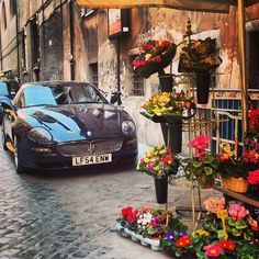 Roses are red, Maseratis are black. - found in Rome by @Skimbaco Lifestyle