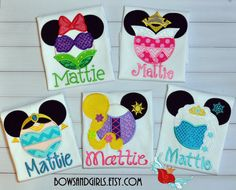 This listing is for a : An Applique Disney Princess  Inspired Minnie Mouse Ears Custom Shirt with your choice of Princess. Shown are ears inspired
