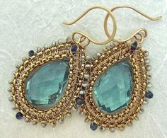 Teal & Antique Gold: Rich Color Palette - Wire Wrapped Framed Earrings by Two Tightly Wound ~ The Beading Gem's Journal