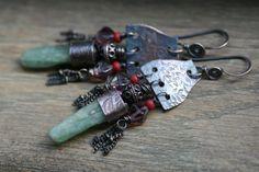 Chandellier Bohemian Gipsy Rustic earringsRaw Rough by Tribalis, $55.00