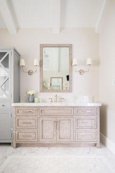 Stained white rift oak Bathroom vanity is Stained white rift oak Stained white rift oak Stained white rift oak Modern Bathroom, Small Bathroom, Master Bathroom, Bathroom Ideas, Washroom, Neutral Bathroom, Bathroom Makeovers, Bathroom Inspo, Bathroom Colors