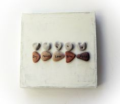 House Blessings - Home Decoration - Rocks Frame - Beach rocks Art - Inspirational Wall Decor - Unique Wedding Gift - heart shaped pebbles M4 by MedBeachStones on Etsy https://www.etsy.com/listing/101728612/house-blessings-home-decoration-rocks