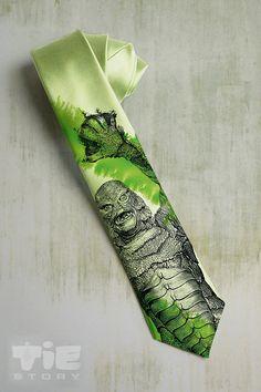 Monster on mens tie. Green necktie inspired by by tiestory on Etsy