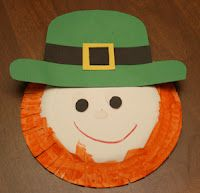 St. Patrick's Day - Leprechaun Project    Materials:      1 paper plate      1 green hat shape      1 black strip for the hat band      1 yellow square frame for the buckle      black dots      crayons/paint      scissors