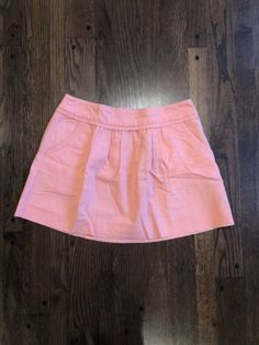 392085b13e J. Crew Pink Coral Pleated Skirt Size 6 Cotton Linen With Pockets #fashion #