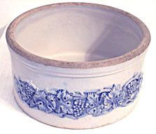 Robinson Clay Products - Blue & White Stoneware Butter Crock - Grape – Centennial Antiques