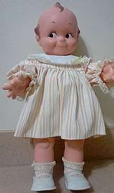 """This listing is for a 1967 Cameo Kewpie Doll and she is so Kitschy cute! She is large in size measuring 15"""" tall, vinyl and is fully dressed in her sundress, socks and shoes. She is in good, used vintage condition and is ready for a new home.Thank"""
