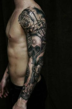 Skull / roses / ship tattoo