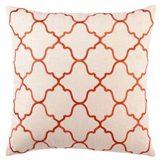 DL Rhein moroccan tile orange embroidered linen pillow--- zen feeling to it