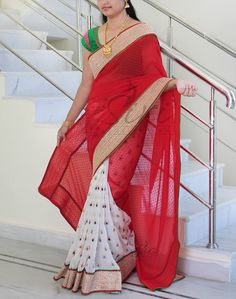 Partywear white and red georgette saree   Buy Latest Sarees At online   Elegant Fashion Wear Price:4950 #elegantfashionwear #partywear #red #white #georgette #saree