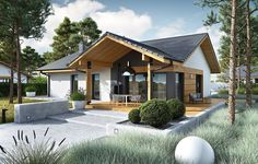 DOM.PL™ - Projekt domu ACX Mini 4 w. II CE - DOM UF1-11 - gotowy koszt budowy Exterior Paint Colors For House, Dream House Exterior, Bungalow House Design, Modern House Design, Farmhouse Design, Modern Farmhouse, Open Concept Home, Beautiful House Plans, Small House Plans
