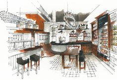 Interior Sketches and Hand Rendered Marker Visuals by Richard Chadwick.