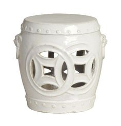 """This lovely Double Fortune garden stool features a traditional Chinese design. The stool measures 12"""" in diameter X 11.5""""H and features a White Glossy Glaze finish. The stool can be used as a decorative accent indoors or outdoors. Perfect as a side table or outdoor patio accessory. Can be used as a seat or even a base for a table top. Click on image for greater detail. $200"""