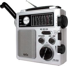 Eton FR250 Self-Powered AM/FM/Shortwave Radio. This radio has remarkable sound and is fairly sensitive on short wave.  My problem is that the charging crank broke inside the radio and is worthless. It still is a nice radio using regular AA batteries.