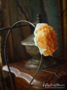 Купить Ободок для волос с оранжевым цветком из ткани. - цветы, цветы ручной работы, цветы из ткани