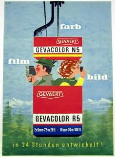 Gevaert Gevacolor Film, 1960 - original vintage poster listed on AntikBar.co.uk