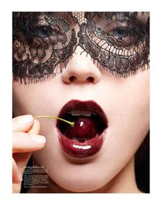 Seductively Masked Editorials - The Judith Bedard Fashion Magazine Spread is Mysteriously Sultry (GALLERY) Malbec, Cherry Lips, Cherry Red, Foto Fashion, Fashion Glamour, Fashion Mag, Girl Fashion, Lace Mask, Art Of Seduction