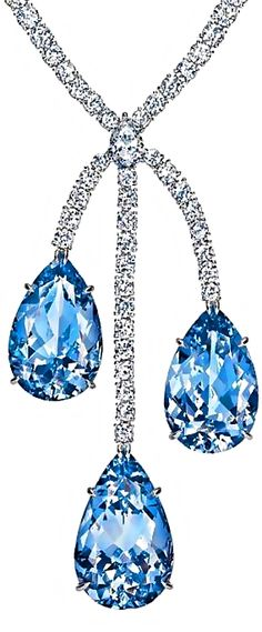 Harry Winston's Aquamarine & Diamond Drop Necklace for formal